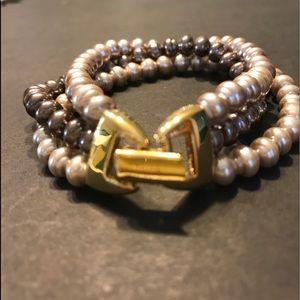 Napier tri-strand Faux Pearls